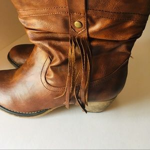 Hot Tomato Brown Booties with Tassels Size 10M